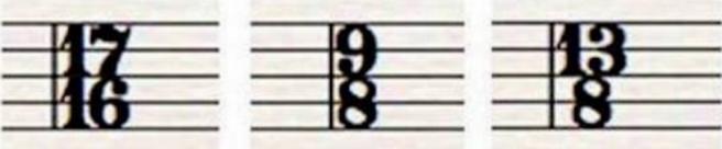 picture: time signatures -- 17/16; 9/8; 13/8